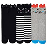 YAOSEN 3Pairs Children Cute Cartoon Socks Kitty Cat High Socks Cotton Knee Socks Stockings