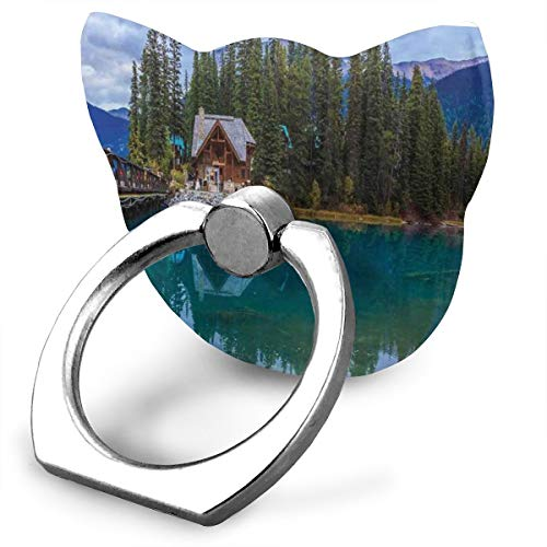 Seuriamin Nature Canadian Emerald Lake Scenery with A Wooden Cottage House Country View Full Petrol Blue Olive Green Cute Cat Phone Stand Metal Finger Ring 360 Degree Rotation Foldable