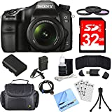Sony ILCA68K/B a68 A-Mount Digital Camera 18-55mm Zoom Lens Bundle includes ILCA68/B Camera, 18-55mm Zoom Lens, 55mm Filter Kit, 32GB SDHC Memory Card, Deluxe Bag, Beach Camera Cloth and More!
