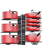 Pan Organizer Rack For Cabinet With 3 Diy Methods, Adjustable Pots Pans Organizer Rack With 8 Metal Shelves, Pan Pot Storage Organizer For Kitchen Countertop And Cabinet [Upgrade Version]