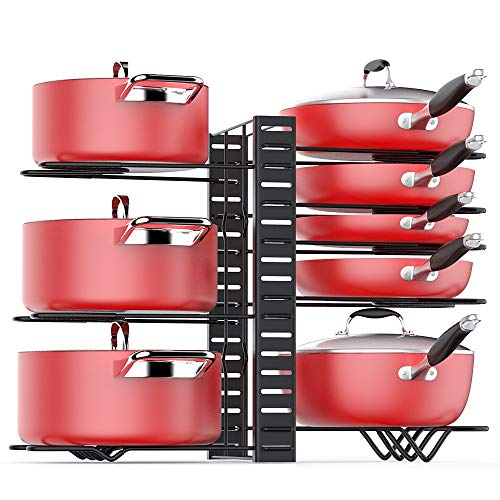 Pan Organizer Rack for Cabinet Adjustable, Cabinet Pot Rack Organizer with 3 DIY Methods, 8 Metal Shelves with Anti-slip Layer