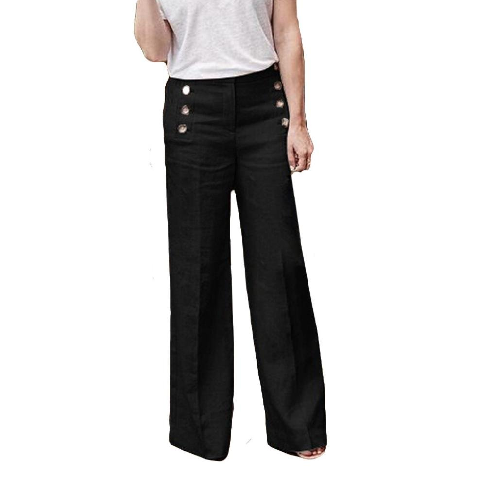 Women's Straight Pants,Sexy Casual Loose Elastic Button Waist Wide Leg Trousers by-NEWONESUN