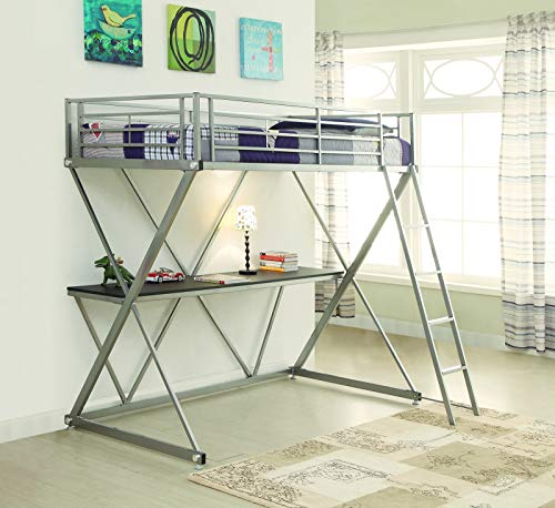 - Coaster CO-400034T Twin Workstation Loft Bed, Silver