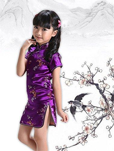 Changnanjun Filles Fleur Prune Phénix Dragon Chinois Qipao Cheongsam Fleur Robe Pourpre