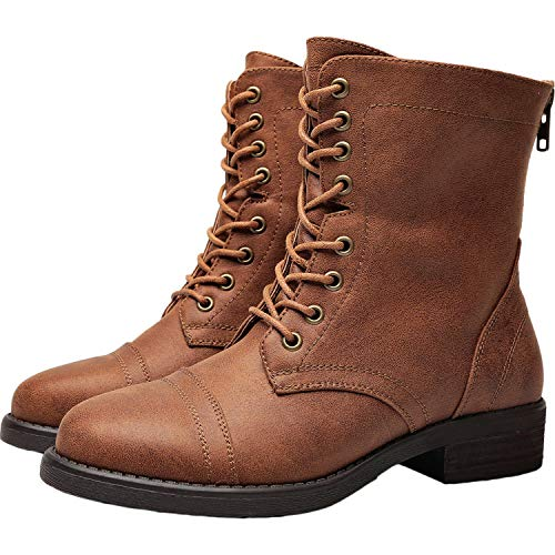 Aukusor Women's Wide Width Ankle Booties - Low Heel Casual Zipper Lace up Martin Boots.(180614 Brown 9.5WW)