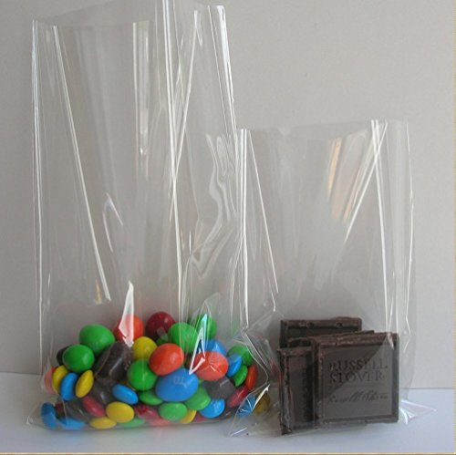 100 Count Super Clear Flat Cello Cellophane Treat Bags Gift Party Wedding Favor Bags 6x8 inch (1.2mil) (Clear Treat Bags)