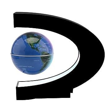 Amazon magnetic levitation floating world map globe ddsky c magnetic levitation floating world map globe ddsky c shape 34quot rotating planet earth globe with gumiabroncs Images