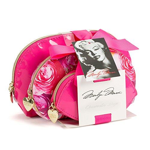 Set of 3 Marilyn Monroe Cosmetic Bags - Pink Floral - Marilyn Monroe Red Lipstick