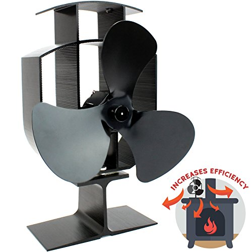 Heat Powered 3 Blade Stove Fan | Silent Operation | Fireplace Wood & Log Burner | Effective Heat Circulation | Eco Friendly | M&W (Fans Stoves Wood For)