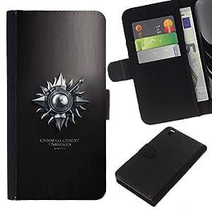 LECELL--Cuero de la tarjeta la carpeta del tirón Smartphone Slots Protección Holder For HTC DESIRE 816 -- Unbowed sin doblar Unbroken Martell --