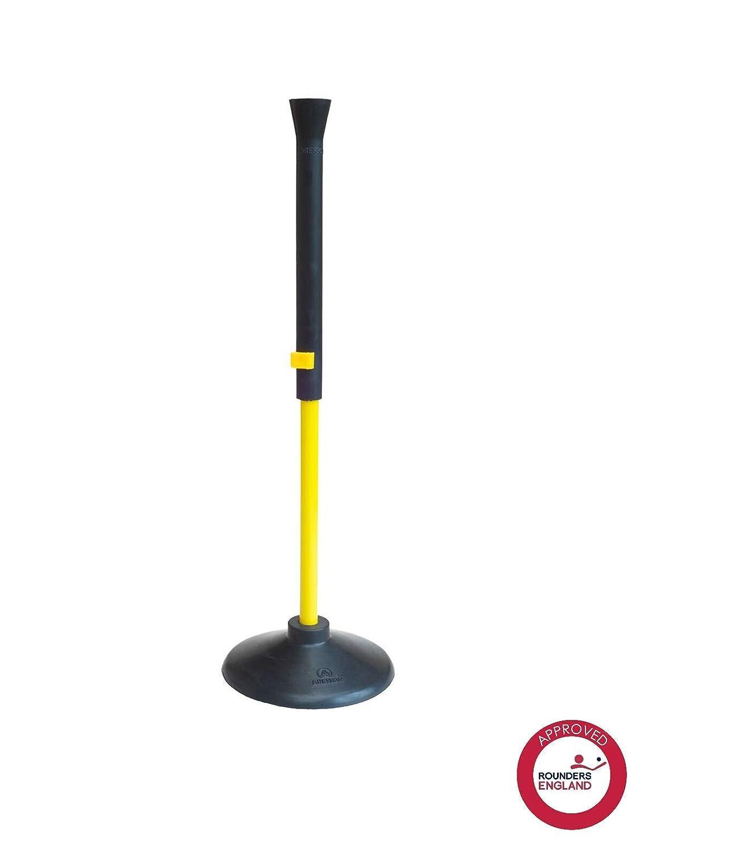 Aresson Rounders- Set T di battuta e base da bambino, colore: Nero/Giallo, 90 cm