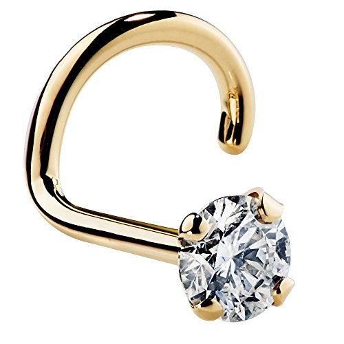 FreshTrends 18G 2mm 0.03 ct. tw Diamond 14K Yellow Gold Nose Ring Twist Screw SI1