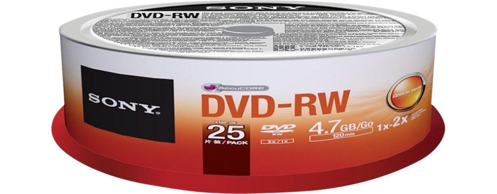 Sony 25DMW47SPM DVD-RW 2X 4.7GB Spindle Rewritable DVD, 25-Pack by Sony
