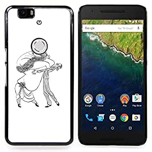 - Dance Caricature Man Woman Big Drawing Art - - Snap-On Rugged Hard Cover Case Funny HouseFOR Huawei Nexus 6P