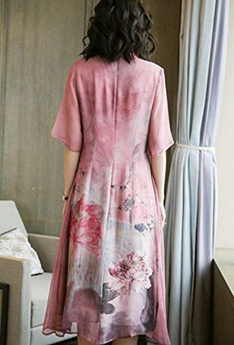 Rosa Kleid Midi Seide Kleider Übergröße Damen DISSA Abendkleid Cocktail Gestreift S2716 Oqx1v7w