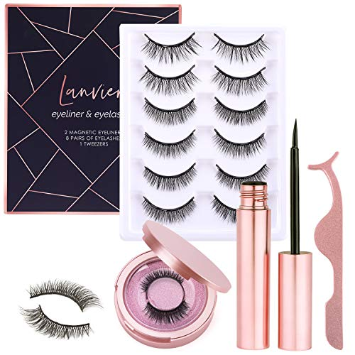 [8 Pairs] Magnetic Eyelashe with Magnetic Eyeliner Kit, LANVIER Reusable 3-d False Eyelashes Lashes Extension with 2 Tubes of Eyeliner - Black