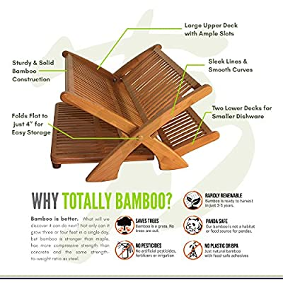 """Totally Bamboo Collapsible Dish Rack, Extra Large Capacity for Maximum Storage, Beautiful and Durable Bamboo, 19"""" by 18"""" by 10"""" high"""