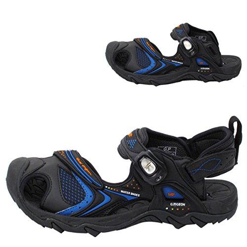 Gouden Duifschoenen Gp5937 Heren Dames Snap Lock Sport Water Schoenen Sandalen: Gemakkelijke Magnetische Sluiting 5937 Zwart Blauw