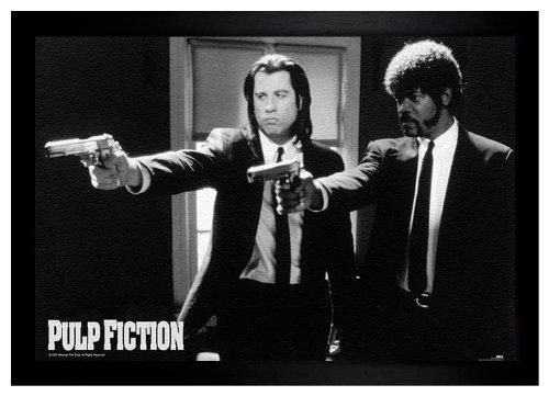 Pulp Fiction Guns Samuel Jackson John Travolta 24X36 Framed Poster  E3 1036