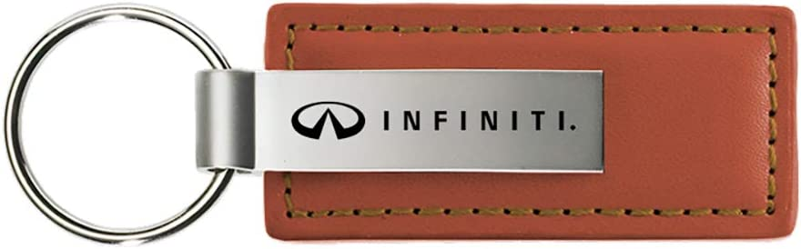 Nissan Infiniti Brown Leather Key Fob Authentic Logo Key Chain Key Ring Keychain Lanyard