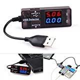 BlueBeach USB Power Meter Voltage Tester Current Monitor- USB 2.0 3.0 Volt Amp Reader Multimeter LED screen - Portable Durable mV mA Data Measurement - Check Solar Panel External Battery Power Bank Wall Charger Smartphone Tablet Gadget Charging Status