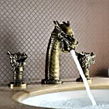 HanMei Modern bathroom basin Faucet Dragon Head Style Top Grade Luxurious Antique Two Handles Three Holes Bathroom Sink Faucet