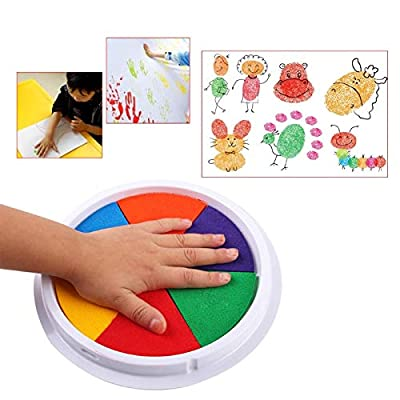 Funny 6 Colors Ink Pad Stamp DIY Finger Painting Craft Cardmaking Large Round for Kids Learning Education Drawing Toys: Arts, Crafts & Sewing