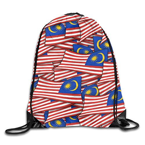 Malaysia Flag Wave Collage Drawstring Backpack Bag Rucksack Shoulder Sackpack Sport Gym Yoga Runner Beach Hiking Dance