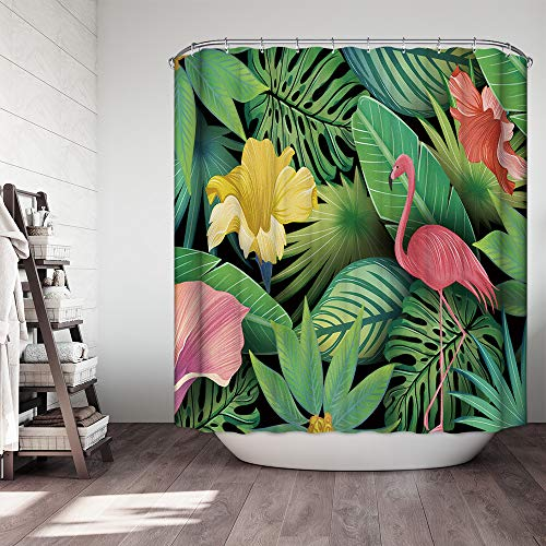 (OCCIFGANT Flamingo Home Decor Shower Curtain Set by,Farmhouse Style Pink Flamingos Play in The Countryside with Green Palm Morning Glory,Fabric Bathroom Decor Set with Hooks,72×72 Inch)