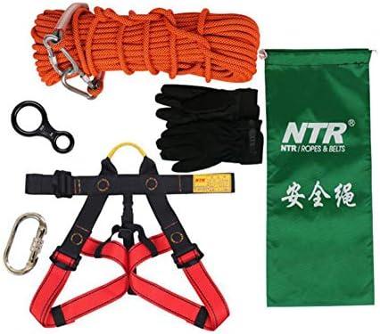 ロープセット、10mm * 10m の屋外の登山の RopeAuxiliary ロープ、家の火の避難救助ロープクライミング装置