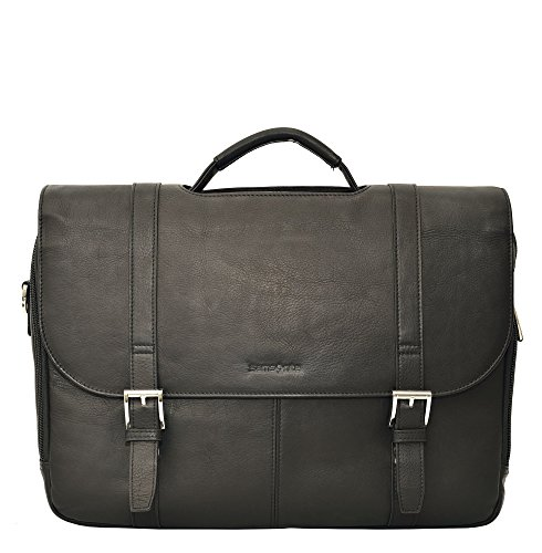 Samsonite Colombian Leather Flap Over Laptop Messenger Bag (Black/Chrome) by Samsonite