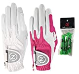 Zero Friction Ladies Compression-Fit Synthetic Golf Glove (2 Pack with Free Pack of tees), Universal Fit One Size, White/Pink