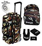 KAZE SPORTS 3 Ball Bowling Roller with Color Match Add On Spare Tote and Accessories Pack (Camo)