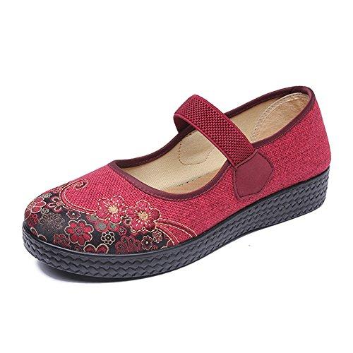 PENGFEI Botines Zapatos De Lona Primavera Y Otoño Antideslizante Fondo Suave De Mediana Edad Y Ancianos Hembra 3 Colores (Color : Marrón, Tamaño : EU39/UK6.5/L:250mm) Vino rojo