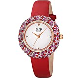 Swarovski Colored Crystal Watch With Leather Strap