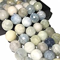 [ABCgems] Brazilian Aquamarine (Grade AA) 12mm Faceted Round Beads