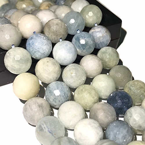 [ABCgems] Rare Brazilian Aquamarine (Exquisite Color- Grade AA) 6mm Faceted Round Beads for Beading & Jewelry Making