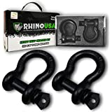 """Rhino USA D Ring Shackle (2 Pack) 41,850lb Break Strength – 3/4"""" Shackle with 7/8 Pin for use with Tow Strap, Winch, Off-Road Jeep Truck Vehicle Recovery, Best Offroad Towing Accessories (Matte)"""