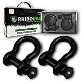 "Rhino USA D Ring Shackle (2 Pack) 41,850lb Break Strength – 3/4"" Shackle with 7/8 Pin for use with Tow Strap, Winch, Off-Road Jeep Truck Vehicle Recovery, Best Offroad Towing Accessories (Matte)"