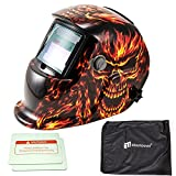 iMeshbean Pro Cool Solar Power Auto Darkening Welding Helmet with Grinding Function & Extra Lens Covers & Storage Bag Arc Tig Mig Plasma ANSI Certified Welder #1042 USA