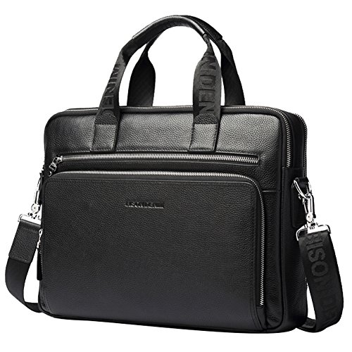Womens High Quality Genuine Leather Leisure Top-Handle Bags (Black) - 8