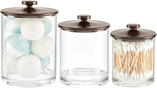 mDesign Modern Plastic Bathroom Vanity Countertop Storage Organizer Apothecary Canister Jar Set for Cotton Swabs, Rounds, Balls, Makeup Sponges, Bath Salts, Set of 3, Small/Medium/Large - Bronze/Clear