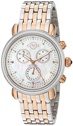 GV2 by Gevril Marsala Womens Diamond Chronograph Swiss Quartz With Additional Leather Strap Two Tone Stainless Steel Bracelet Watch, (Model: ()