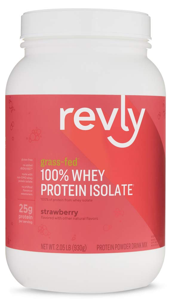 Amazon Brand - Revly 100% Grass-Fed Whey Protein Isolate Powder, Strawberry, 2.05 lbs, 30 Servings, No added rbgh/rbst‡, no artificial colors or flavors by Revly