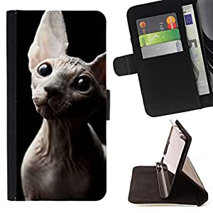 Sphynx Donskoy Peterbald Hairless Cat - Painting Art Smile Face Style Design PU Leather Flip Stand Case Cover FOR Samsung Galaxy S6 EDGE @ The Smurfs