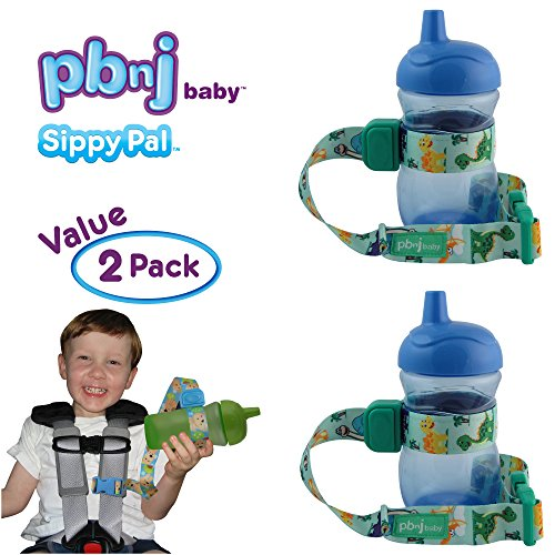 PBnJ Baby SippyPal Sippy Cup Holder Strap Leash Tether (Dinosaur 2-Pack)