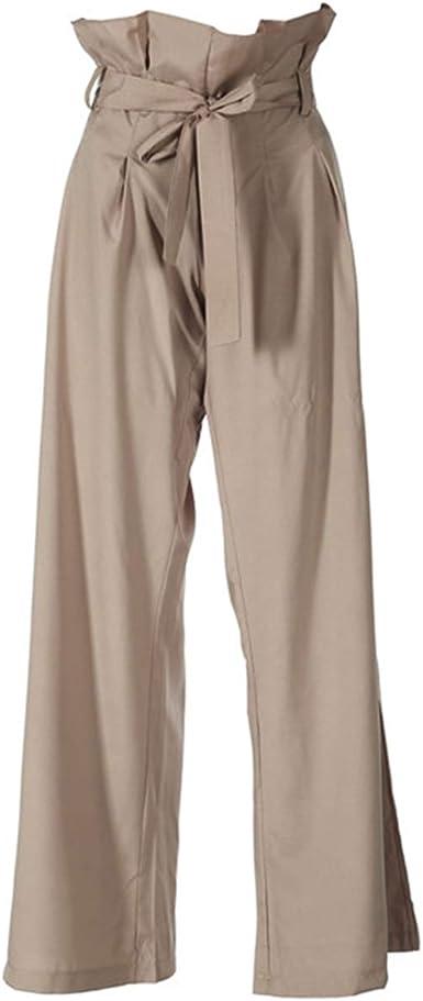 Pantalones De Mujer Con Lazo Plisado Y Cinturon Pantalones De Palazzo A La Moda Informales Para Mujer Color Borgona Cintura Media Pierna Ancha Pantalones Amazon Es Ropa Y Accesorios