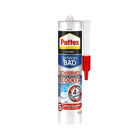 Pattex Perfektes Bad Schimmel Blocker Silikon, Sanitärsilikon mit  4-fach-Schutz gegen Schimmel, Dichtmasse für 5 Jahre garantiert saubere ...