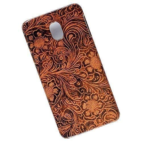 Tooled Leather Look. Slim Phone Case for Samsung Galaxy J3 (2018) J337, J3 V 3rd Gen, J3 Star, J3 Achieve, Express Prime 3, Amp Prime 3 ()