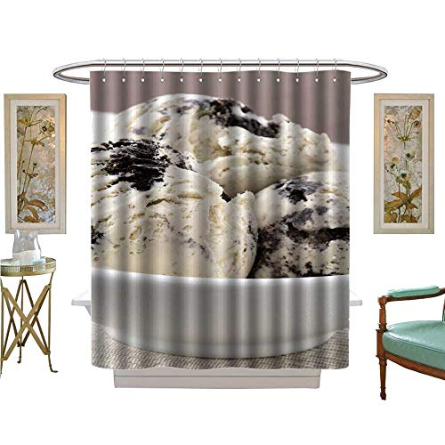 luvoluxhome Shower Curtains Mildew Resistant Real Cookies and Cream ice Cream not Made with Mashed Potatoes Bathroom Set with Hooks W69 x L70
